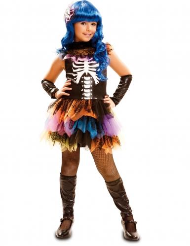Regenbogen-Skelettkostüm für Mädchen bunt