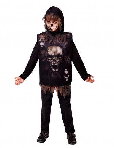 Skelett Spielkarten-Kostüm schwarz-braun-weiss