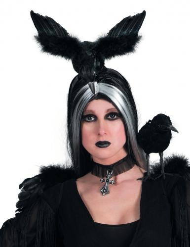 Raben-Haarreif Hexen-Kostümzubehör schwarz