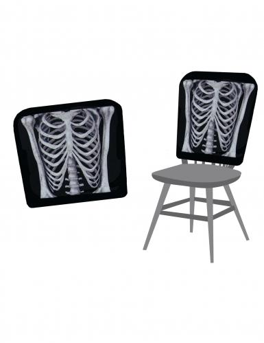 Halloween Stuhlhusse Skelett schwarz-grau 38x48cm