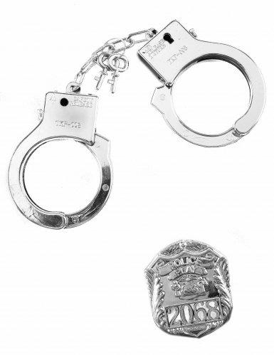 Handschellen mit Polizei-Abzeichen Polizei-Accessoire-Set silber