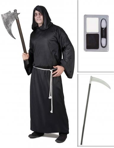 Gruseliger Sensenmann Halloween Kostüm-Set Henker 3-teilig schwarz-grau