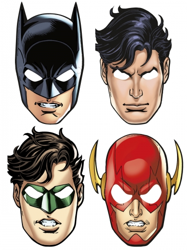 Justice League™-Pappmasken 8 Stück bunt