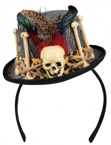 Mini-Voodoohut für Damen mit Totenschädel schwarz-beige