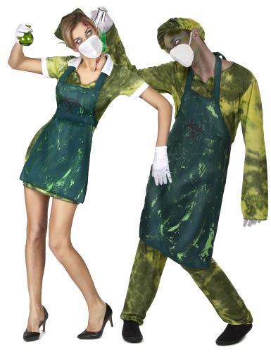 Verseuchte Zombies Halloween-Paarkostüm grün