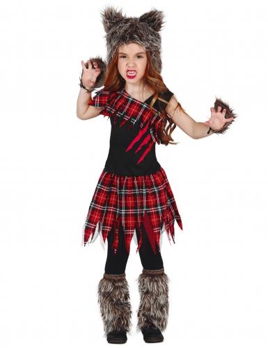 Werwolfkostüm in Schuluniform für Mädchen Halloween bunt