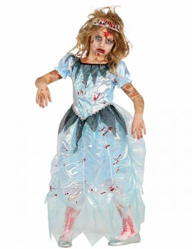 Zombie-Prinzessinkostüm für Mädchen Halloween blau