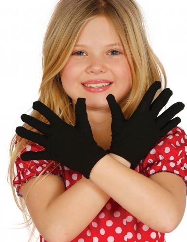 Kurze Handschuhe für Kinder Halloween-Accessoire schwarz