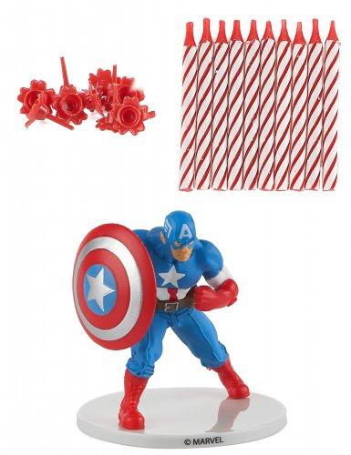 Captain America™-Geburtstagskerzen 10 Stück rot-weiss