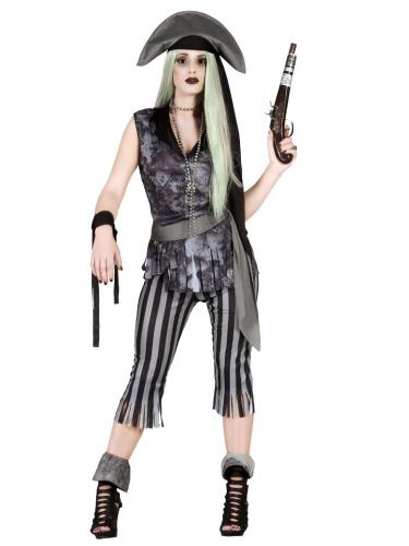 Phantom-Piratenkostüm für Damen grau