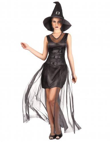 Schickes Hexenkostüm für Damen schwarz
