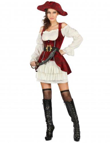 Sexy Piratenkostüm für Damen rot-weiß