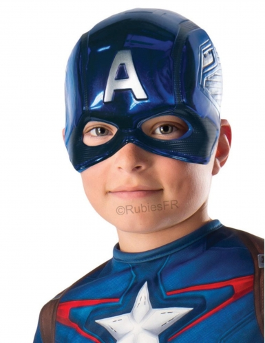 Captain America™-Halbmaske für Kinder blau-silberfarben