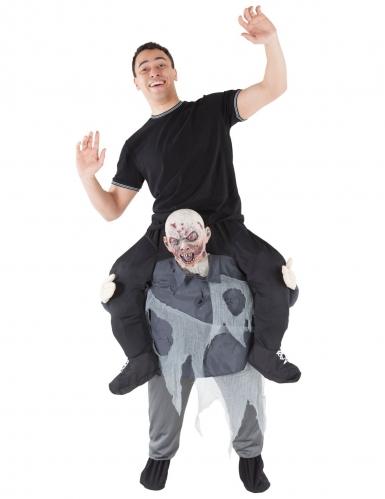 Zombie-Kostüm Huckepack für Erwachsene schwarz-grau
