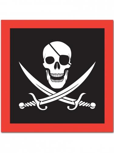 Piraten-Serviettenset 16-teilig schwarz-weiss-rot
