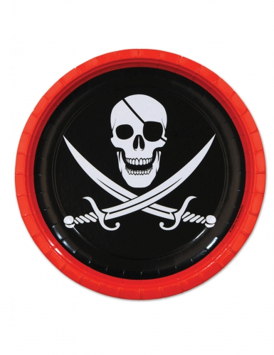 Piraten-Papptellerset 8 Stueck schwarz-weis-rot 23cm