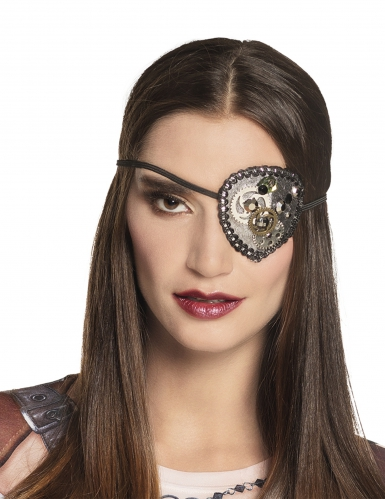 Steampunk-Augenklappe für Erwachsene silber-gold