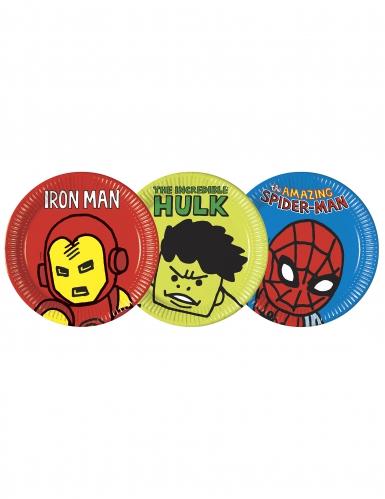 Avengers™ Pop-Comic Pappteller 8 Stück bunt 23 cm