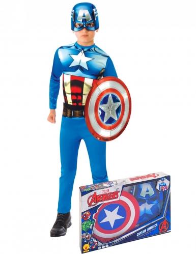 Captain America™-Kinderkostüm mit Schild blau-weiss-rot