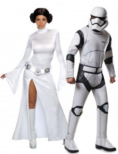 Star Wars™-Paarkostüm Prinzessin Leia und Stormtrooper Lizenzartikel weiss-schwarz