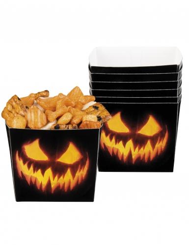 Kürbis-Snackbehälter für Halloween 6 Stück schwarz-orange 400 ml