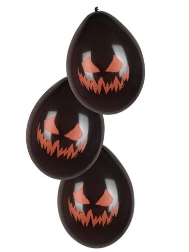 Kürbisluftballon-Set für Halloween 6 Stück schwarz-orange 25cm
