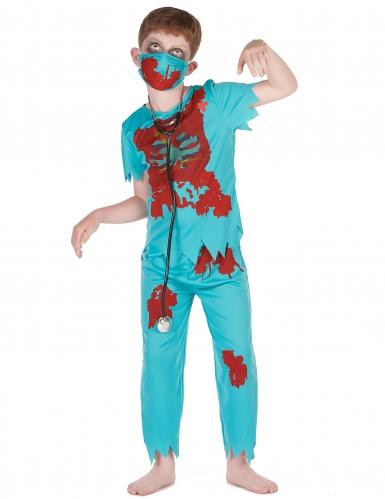 Zombiearzt-Kinderkostüm für Halloween blau-rot
