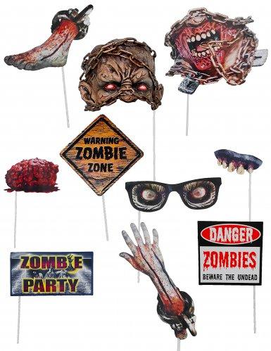 Fotozubehör-Kit Zombie für Halloween 10-teilig bunt