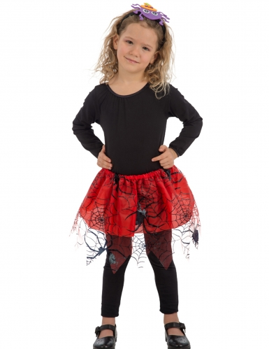 Tutu für Mädchen mit Spinnennetzen rot-schwarz