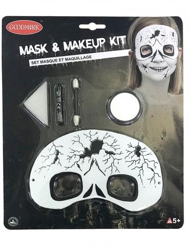 Skelett Schmink-Set für Kinder mit Augenmaske 5-teilig schwarz-weiß
