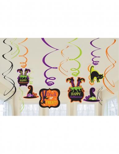 Halloween-Dekoration Spiralen-Aufhängung Happy Halloween 12 Stück bunt