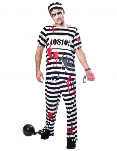 Zombie-Gefangener Herrenkostüm schwarz-weiss-rot