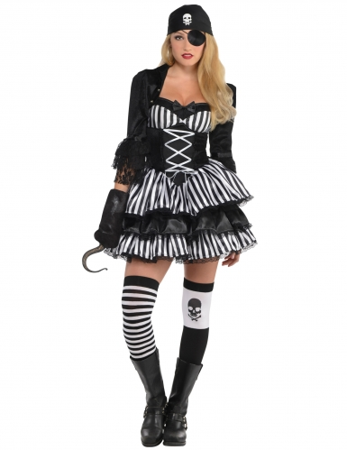 Verruchtes Piraten-Kostüm für Damen schwarz-weiss