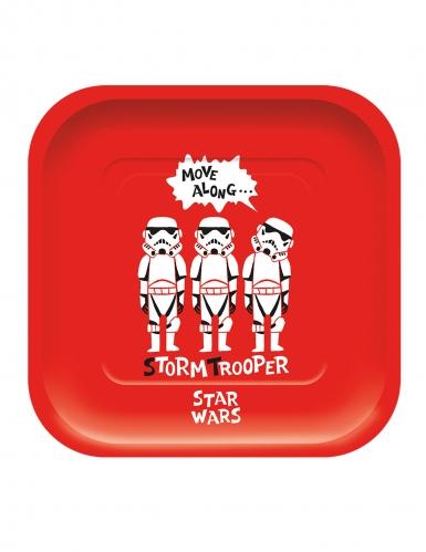 Star Wars™-Pappteller rechteckig Stormtrooper™ 4 Stück rot-weiss 24x24cm