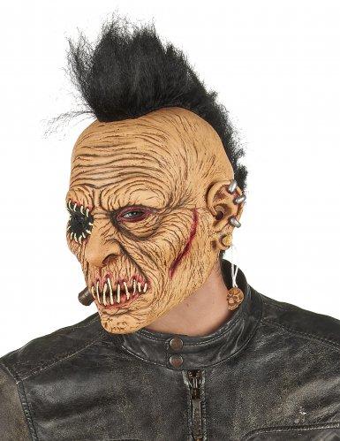 Punker-Zombie Halloweenmaske aus Latex für Erwachsene hautfarben-schwarz-rot