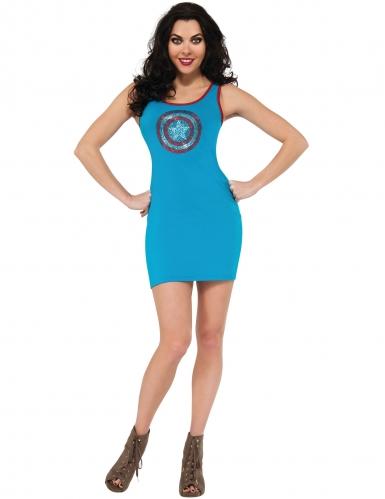 Captain America™-Kostüm für Damen elegant blau-weiss-rot