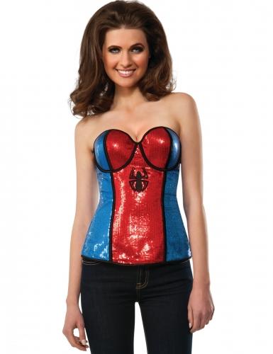 Spidergirl™-Korsage für Damen Halloween-Accessoire rot-blau