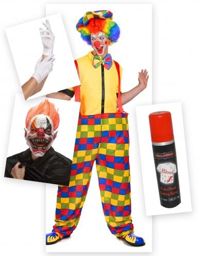 Horrorclown Halloween-Kostümset für Herren bunt