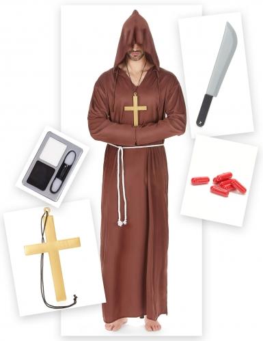 Untoter Mönch Halloween-Kostümset für Herren 15-teilig braun