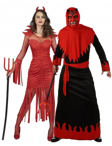 Teufel-Paarkostüm Halloween schwarz-rot