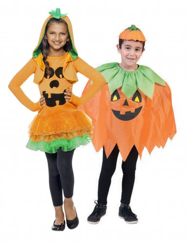 Kübis-Paarkostüm für Kinder Pumpkin-Kinderkostüme Halloween orange-grün