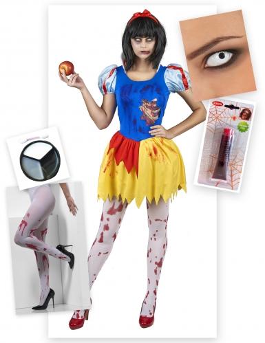 Zombie-Märchenprinzessinnen-Kostüm für Halloween 6-teilig bunt