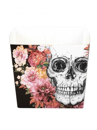Halloween-Boxen Totenkopf und Blumen Halloween-Tischdeko 6 Stück bunt 400ml