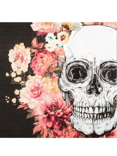 Blühende Skelett-Servietten 12 Stück bunt 33 x 33 cm