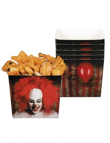 Horrorclown-Boxen Halloween-Tischdeko 6 Stück rot-schwarz 400ml