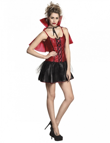 Vampir-Lady Damenkostüm schwarz-rot