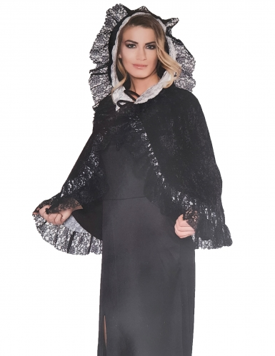 Gothic-Umhang mit Spitze Kostümaccessoire schwarz