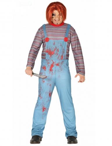 Horrorpuppen-Kostüm für Erwachsene blau-rot