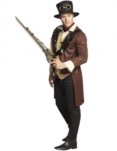 Steampunk-Waffe Schwert-Gewehr 84 cm bronze