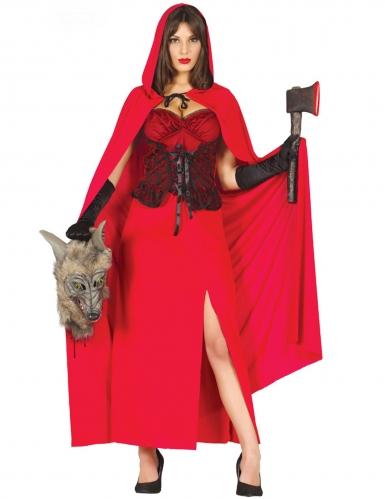 Killer-Rotkäppchen Damen-Kostüm für Halloween rot-schwarz